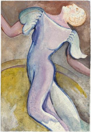 Dancer in blue, watercolor by Lesley Mitchell