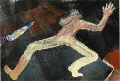 Gold Boot Dancer, monotype & collage by Lesley Mitchell