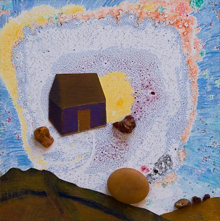 Purple House, mixed media by Lesley Mitchell