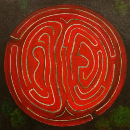 Night Maze in Red/Green, acrylic on panel by Lesley Mitchell