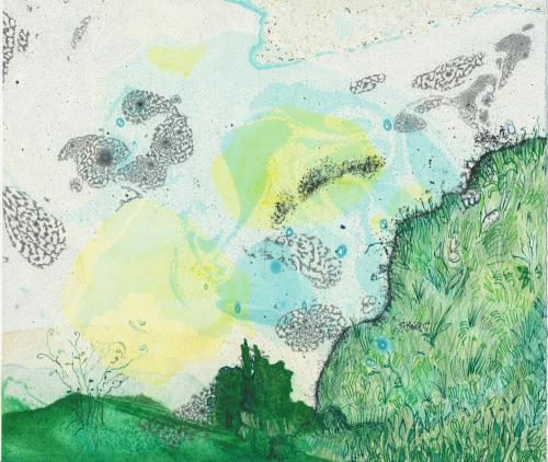 Mountain II, monotype and drawing on marbled paper by Lesley Mitchell