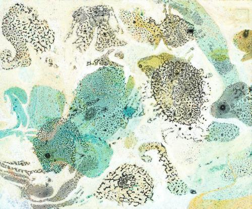 Seabed #1, paper marbling, drawing and painting by Lesley Mitchell