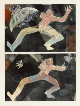 Vaudeville Diptych, monotype & collage by Lesley Mitchell