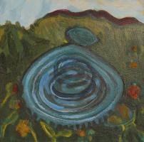 Blue Figue 8 Landscape, panel painting by  Lesley Mitchell