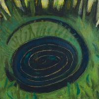 Dark Blue Spiral, acrylic on panel by Lesley Mitchell