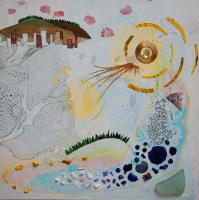 Sun and Moon, marbling and collage on panel by Lesley Mitchell