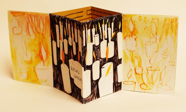 Ritual: Candles & Mazes, artist's book by Lesley Mitchell